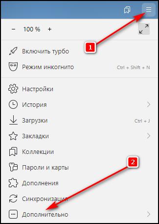 Меню - Дополнительно в Яндекс.Браузере