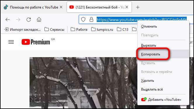 копирование ссылки на ролик youtube