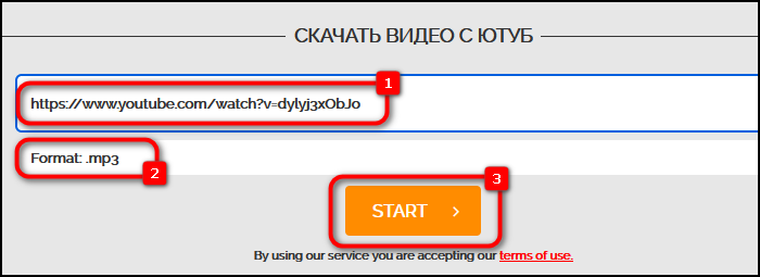 Вставка ссылки и выбор качества в сервисе OnlineVideoConverter