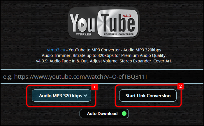 Выбор формата аудио при конвертации